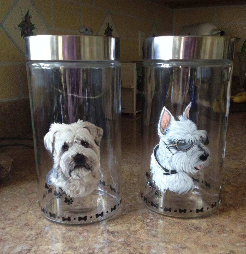hand painted dog on treat-jars