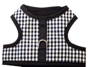 Black gingham velcro vest dog harness