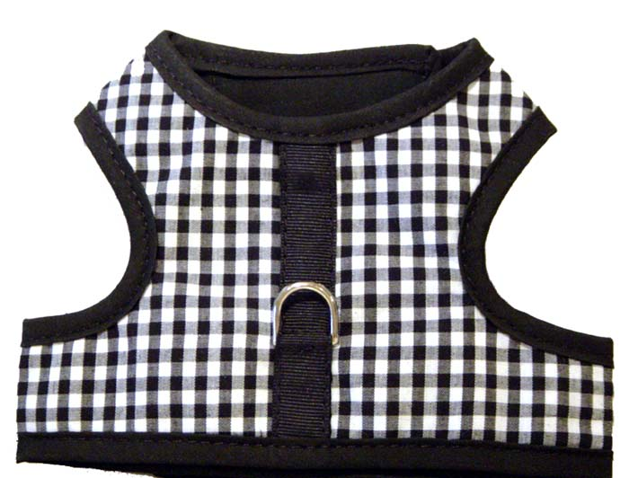 mr-wags-black-gingham dog-vest-harness