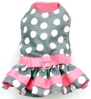 mr-wags-gray-pink-white-dots-Velcro-Dog-Harness-Dress