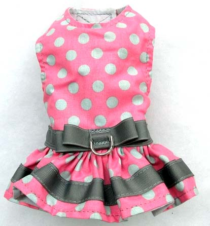 mr-wags-pink-gray-white-dots-Velcro-Dog-Harness-Dress