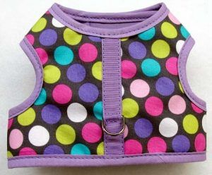 mr-wags-magical-dots-lavender-trim-Velcro-vest-Dog-Harness