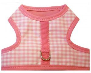 Pink-gingham-velcro-vest-dog-harness