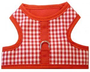 red gingham velcro vest dog harness