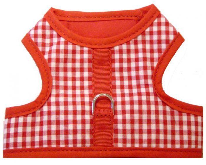 red gingham hook 'n loop vest dog harness
