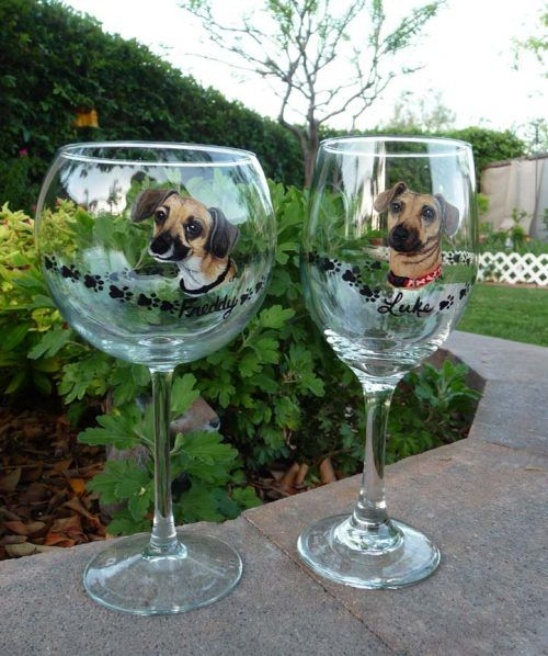 hand painted dog on wine glasses