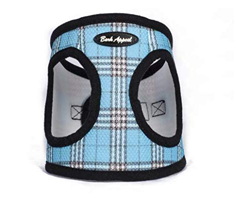 Blue Plaid Step In Breathable Dog Harness by Bark Appeal