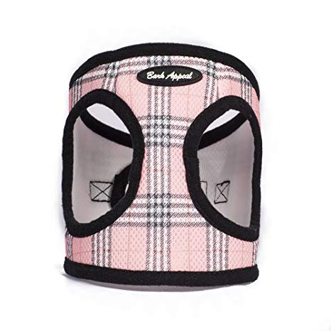 Pink Plaid Step In Breathable Dog Harness by Bark Appeal