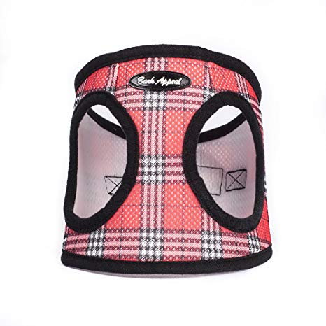 Red Plaid Step In Breathable Dog Harness by Bark Appeal