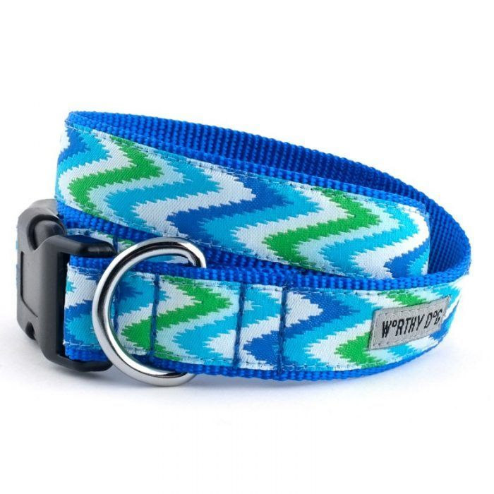 Worthy Dog Chevron Blue Dog Collar