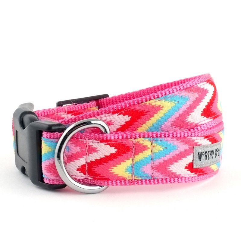 Worthy Dog Chevron Pink Dog Collar
