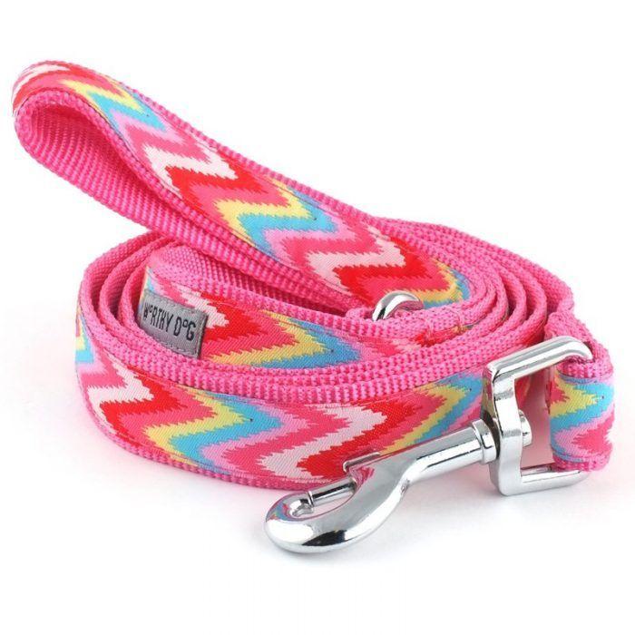 Worthy Dog Pink Chevron Dog Lead, Dog Leash