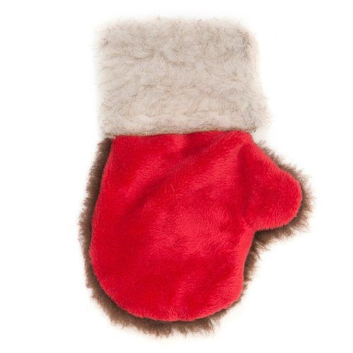 West Paw Holiday Mitten Dog Toy Red Brown