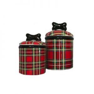 stewart plaid dog treat jar by creature comforts