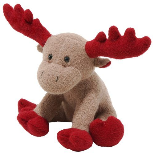 moose red antlers woolie plush squeaker dog toy by jax & bones