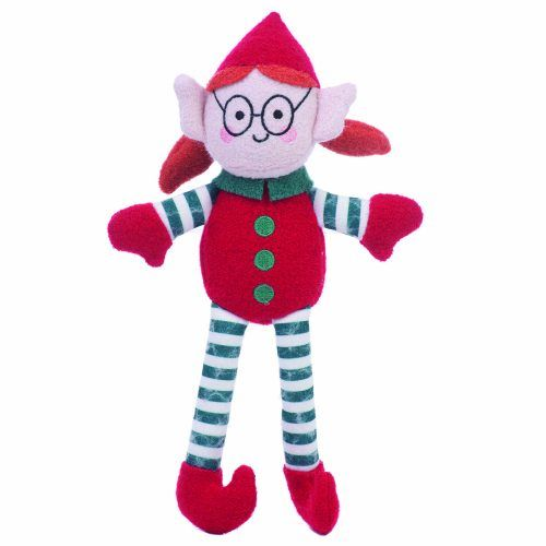 elf girl woolie plush squeaker dog toy by jax & bones