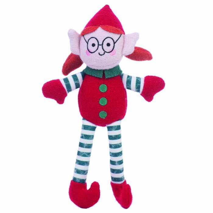 elf girl woolie plush squeaker dog toy by jax & bones