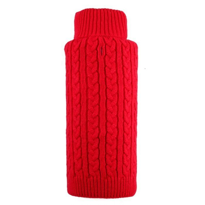 dog sweater cable zip red by worthy dog