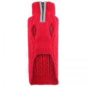 dog sweater cable zip red2 by worthy dog