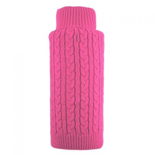 dog sweater cable zip pink by worthy dog