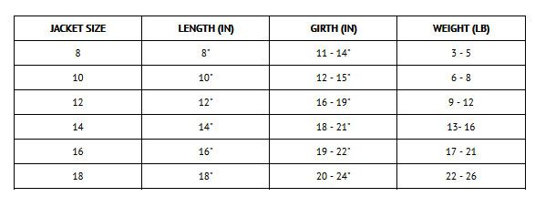 Size chart for Worthy Dog Softshell Tan Plaid Jacket