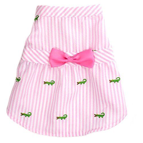 Dog Dress Pink Stripe Alligator by Worthy Dog