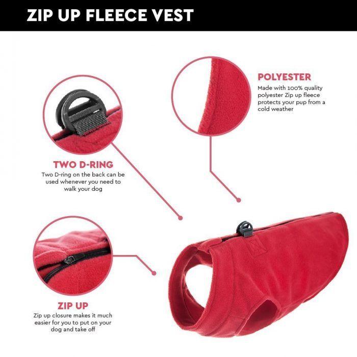 Gooby-Zip-Up-Fleece-Dog-Vest-Red