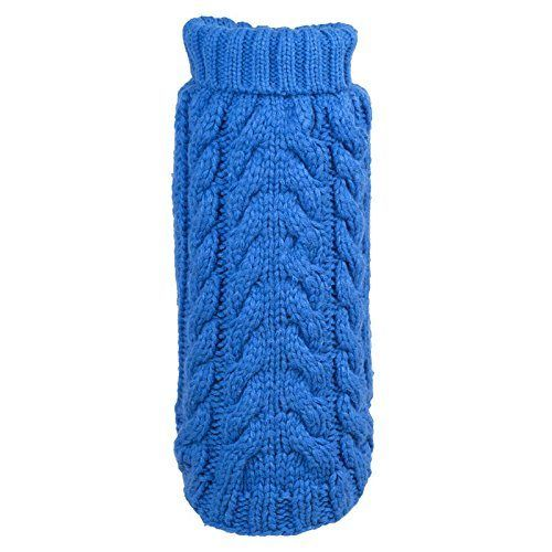 Dog Sweater Hand Knit Blue Turtleneck by Worthy Dog