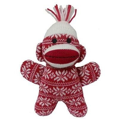 Lulubelles Power Plush Crystal Red Baby Sock Monkey Dog Toy