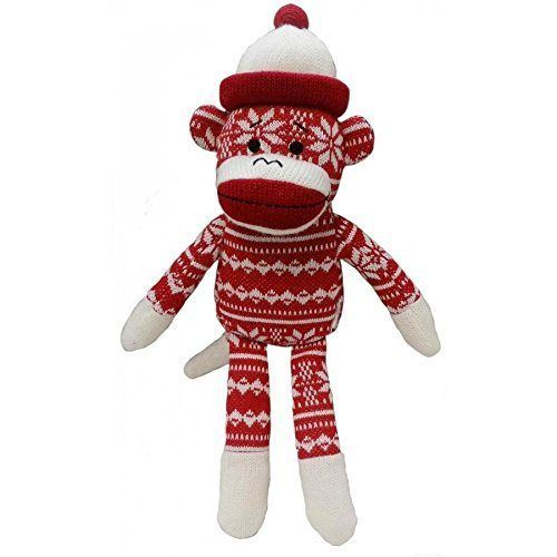 Lulubelles Power Plush Snowflake Red Sock Monkey Dog Toy