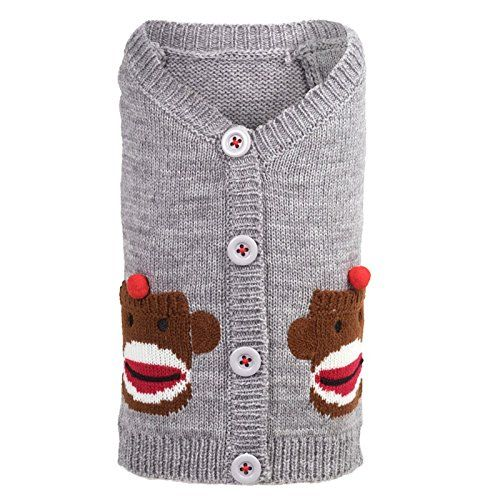 Sock Monkey Cardigan Dog Sweater by Worthy Dog