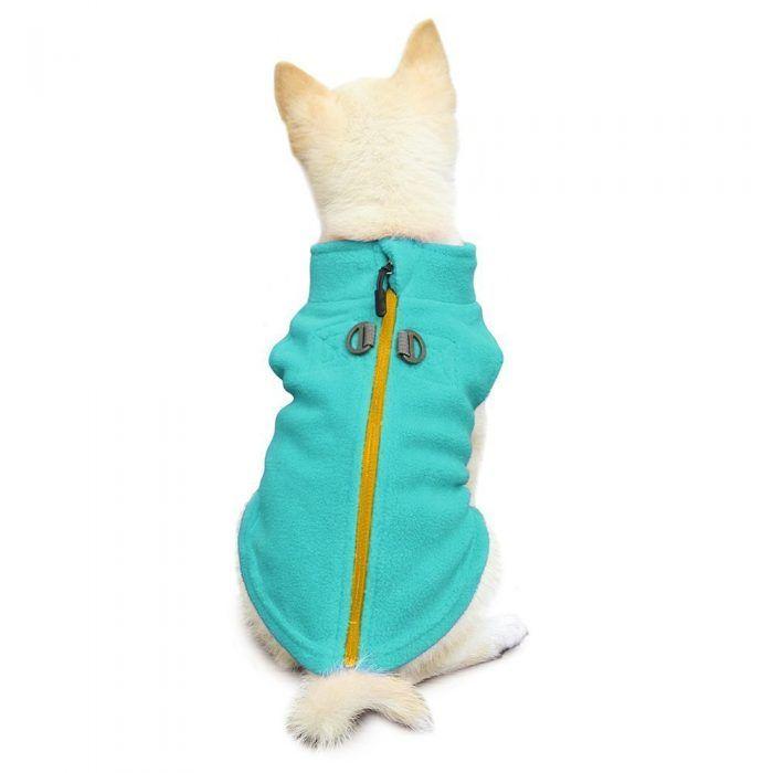 Gooby Zip Up Fleece Dog Vest Blue