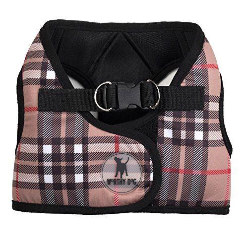 worthy dog plaid print sidekick dog vest harness tan plaid